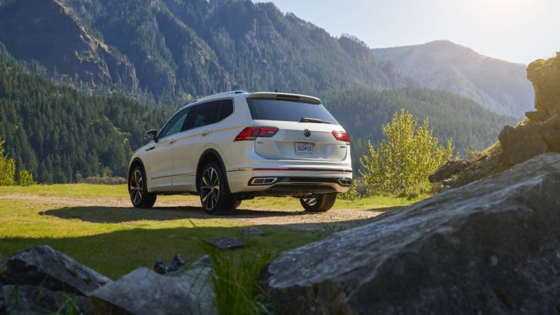 2022 VW Tiguan rear view in the mountains
