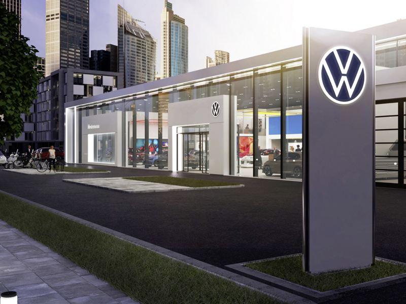 Woman at her Volkswagen's retailer