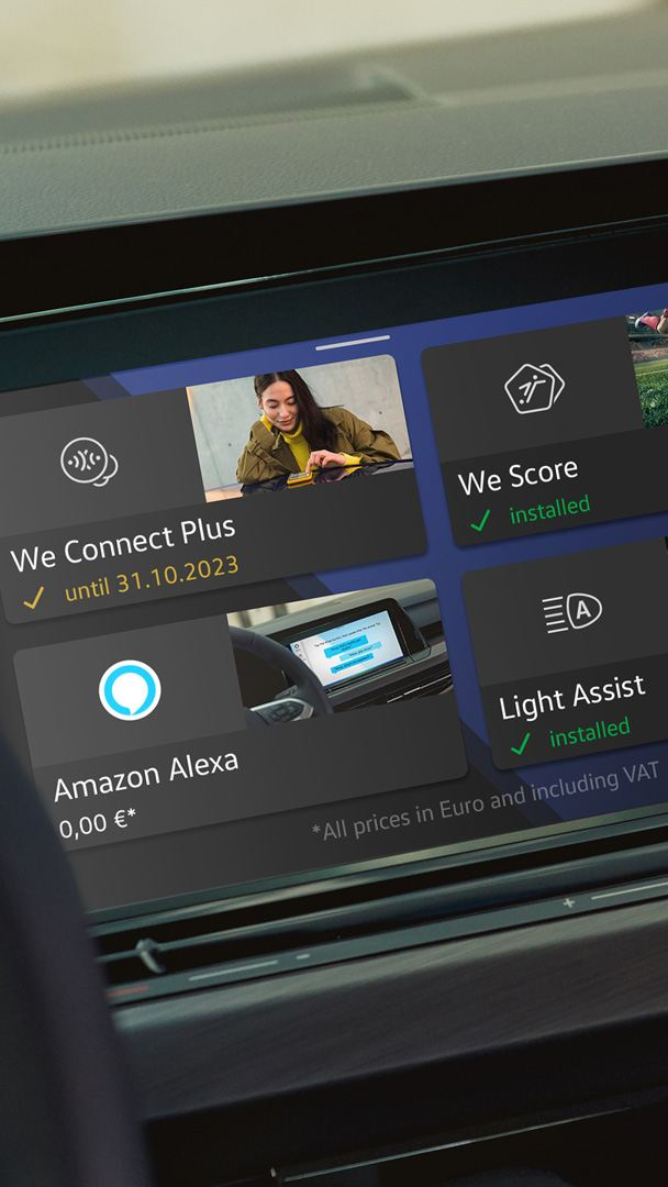 The We Upgrade functions can be selected and installed in the display of your upgrade-ready VW via the in-car shop.