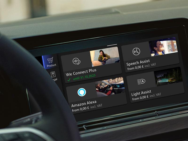 Die We Upgrade-Funktionen lassen sich im Display Ihres upgradefähigen VW über den In-Car Shop auswählen und installieren.