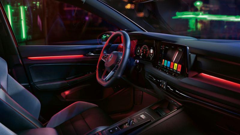VW Golf GTI interior, cockpit view