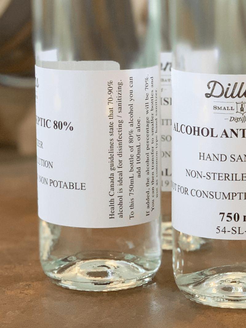 Dillon's Small Batch Distiller's alcohol-based sanitizer