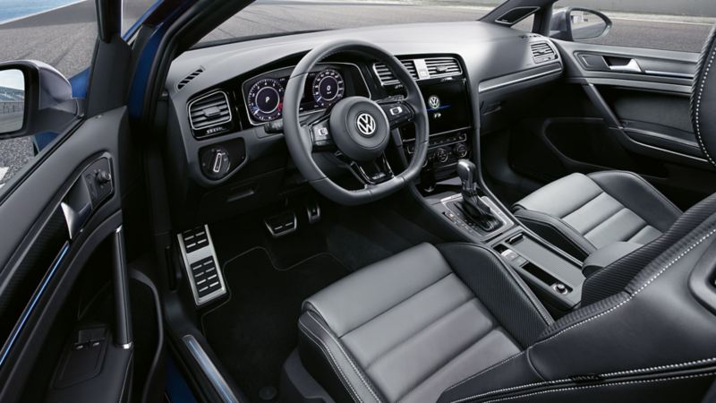 The interior of the Volkswagen Golf R.