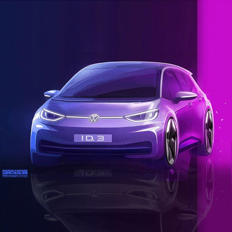 Vista frontale del prototipo di Volkswagen ID.3
