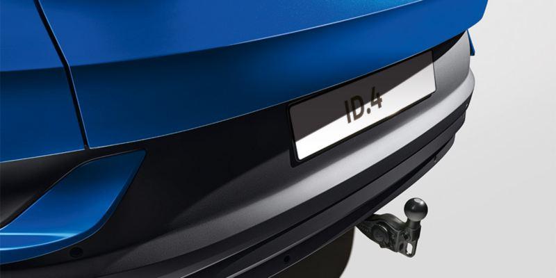 Dettaglio del gancio di traino sfilabile originale Volkswagen, montato su ID.4.
