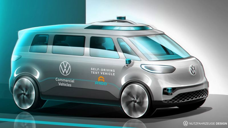 Bildet viser en Volkswagen ID. BUZZ elbil som tester ut autonom kjøring