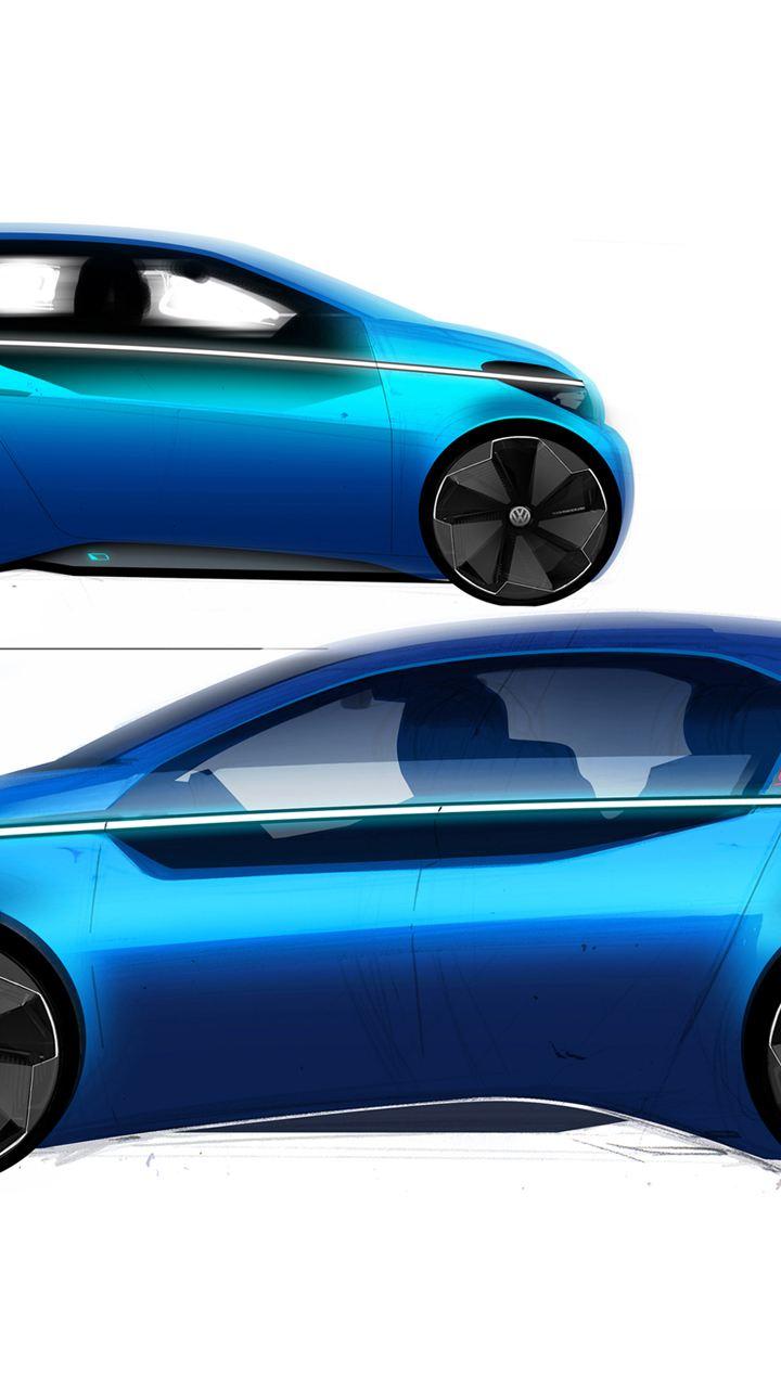 Visione laterale di un prototipo di Volkswagen ID.3