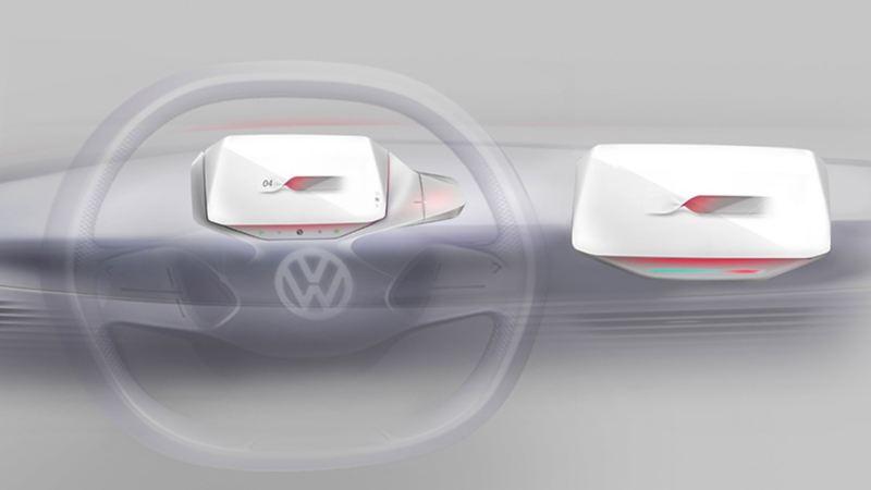 Dettaglio del nuovo Head-Up Display con funzione di realtà aumentata collocato sul volante di Volkswagen ID.3
