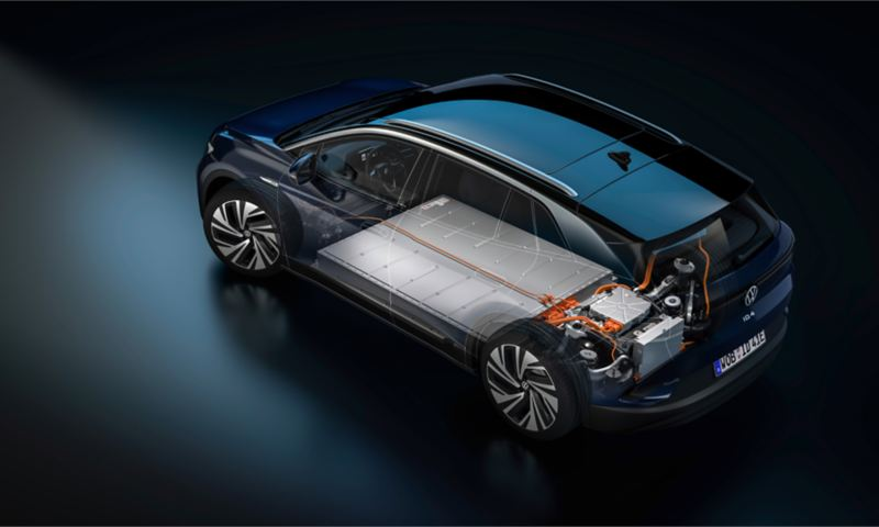 """Volkswagen ID.4 – X-Ray view of the internal structure, link out to """"MEB platform"""" page"""
