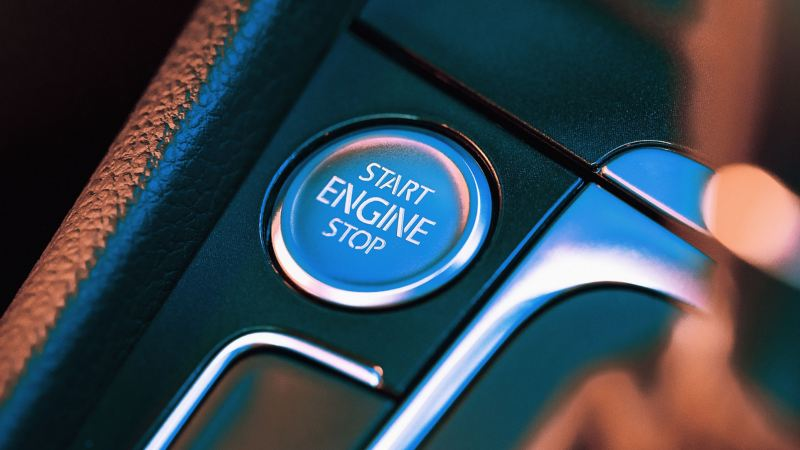Close-up of a start button of a Volkswagen