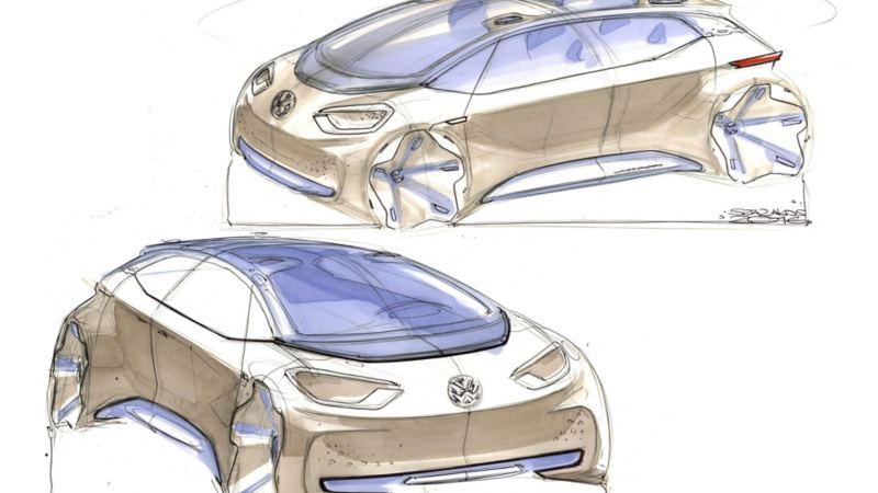 Schizzo del disegno tecnico del prototipo di Volkswagen ID.3 ideato da Klaus  Zyciora Bischoff.
