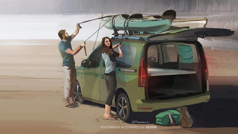 Disegno di un ragazzo e una ragazza che caricano una canoa su Nuovo Caddy California Volkswagen, visto 3/4 posteriormente, con portellone posteriore aperto.