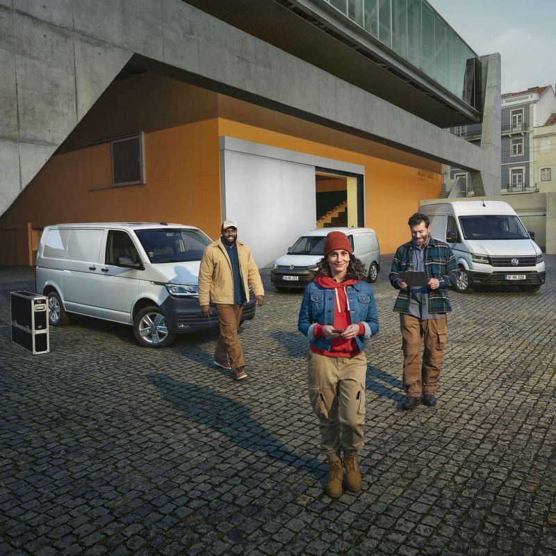Transporter, Caddy, Crafter, Amarok in un cantiere.