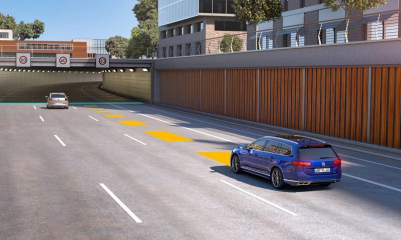 Passati automaatne kauguse kontroll ACC, skemaatiliselt kujutatakse ennetavat kiiruse kontrolli