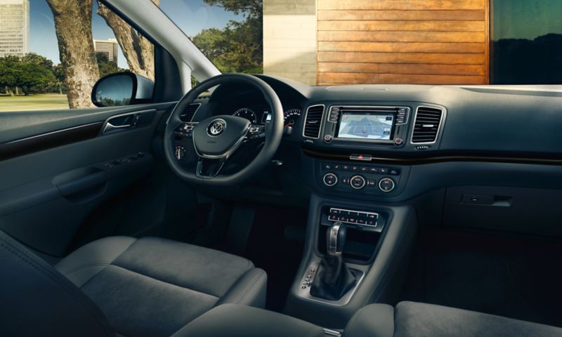 Interior of the Sharan with view of the steering wheel.