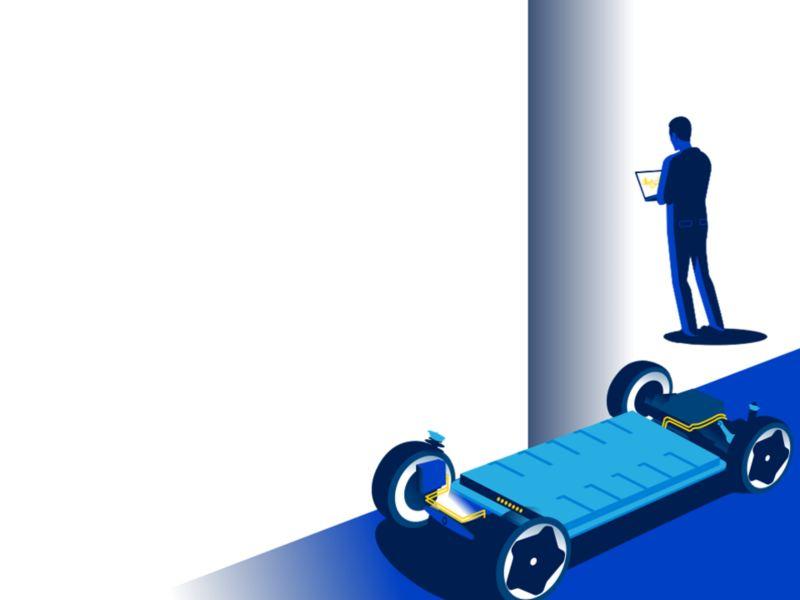 Illustrazione di una batteria con sistema MEB Volkswagen