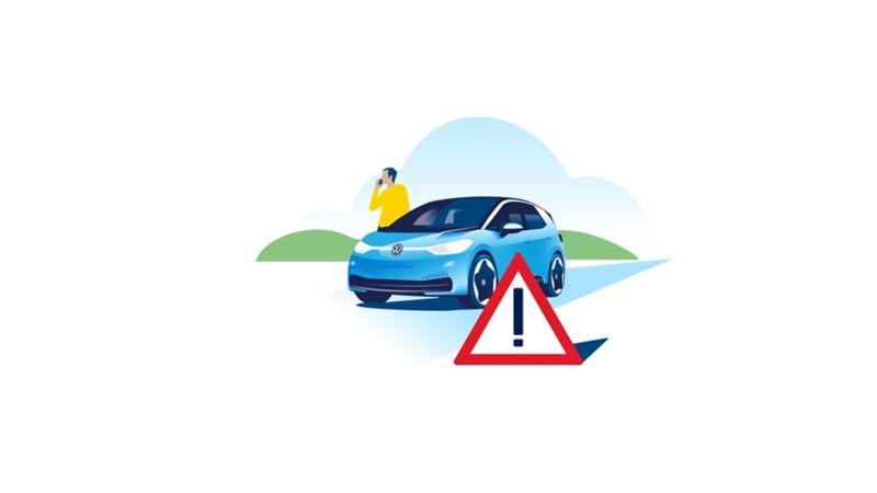 Um triângulo de aviso está em frente ao carro elétrico Volkswagen ID.3
