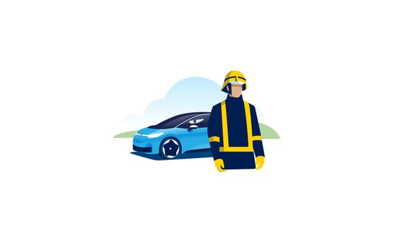 Illustration of a fire fighter standng in front of a Volkswagen ID.3.