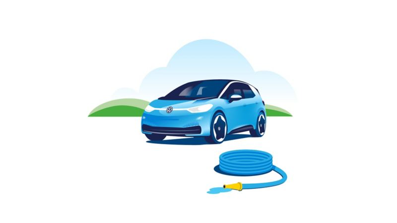 There is a water hose in front of a parked Volkswagen ID.3.