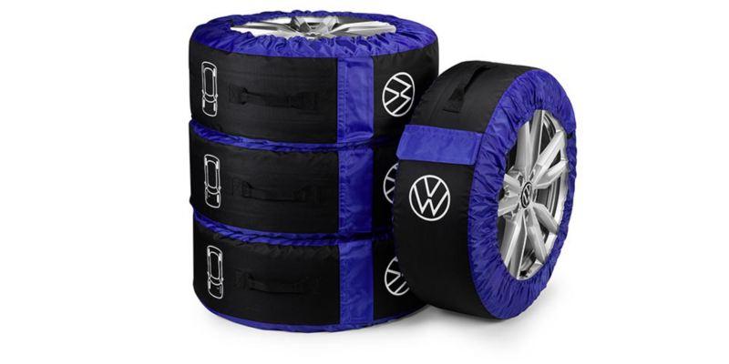 """Dettaglio del set di custodie per pneumatici originali Volkswagen. Disponibili per pneumatici fino a 18""""."""
