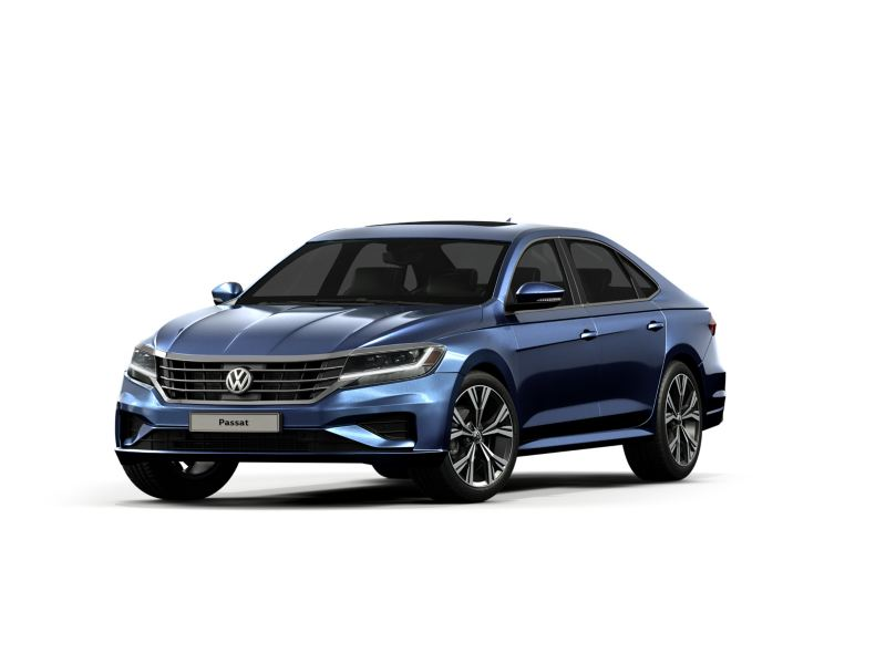 The Volkswagen Passat in blue on a white background