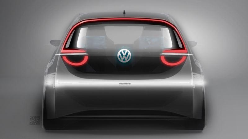 Illustrazione del prototipo posteriore di Volkswagen ID.3
