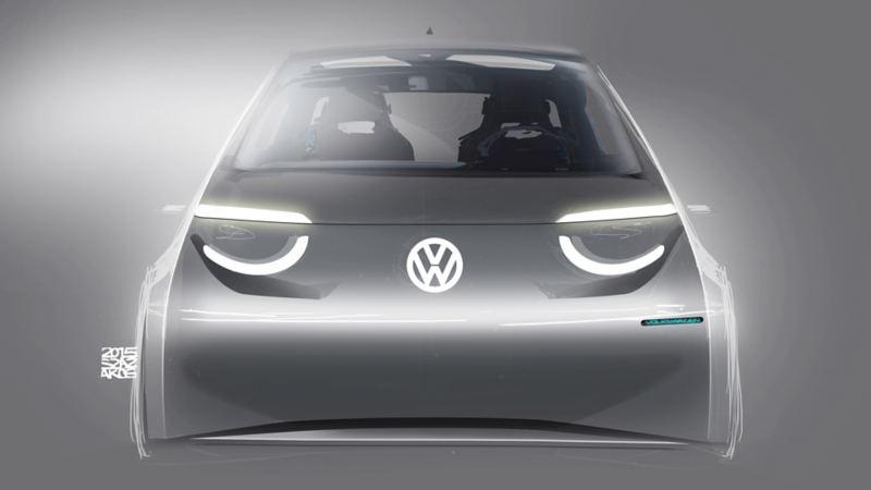 Illustrazione del prototipo frontale di Volkswagen ID.3