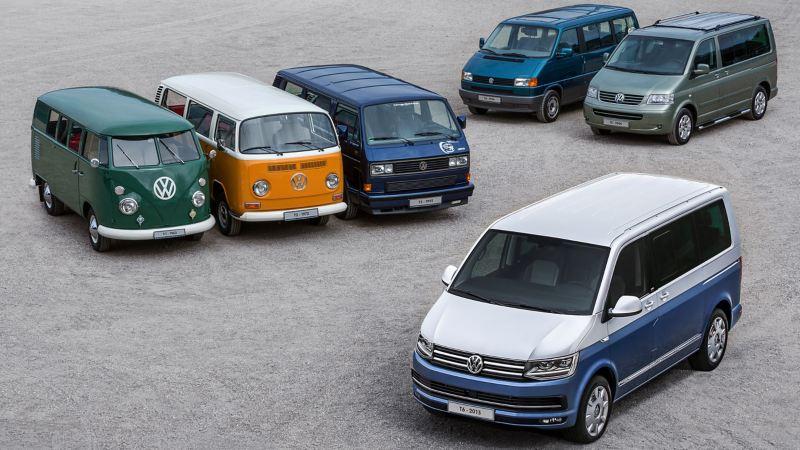 Ein Bild der T-Baureihe zeigt alle Modelle vom T1 bis zum T6.