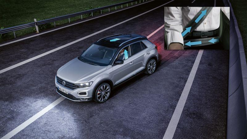 Schematyczne przedstawienie Volkswagena z detalem – napinaczem pasów