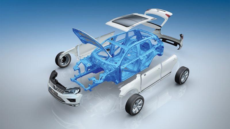 Schematyczne przedstawienie kabiny pasażerskiej w Volkswagenie