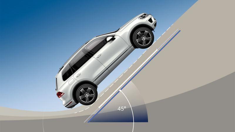 VW Touareg wjeżdża na wzniesienie o nachyleniu 45°