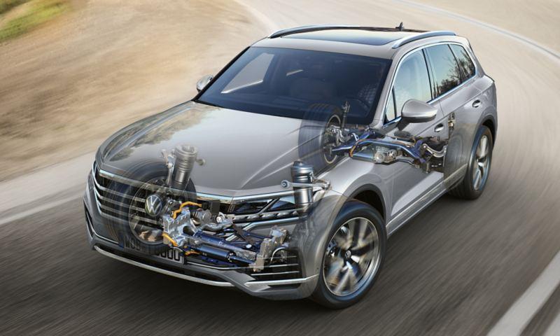 Graphique sur la stabilisation électromécanique active du roulis dans le VW Touareg