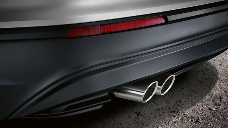 Volkswagen od tyłu, detal: układ wydechowy