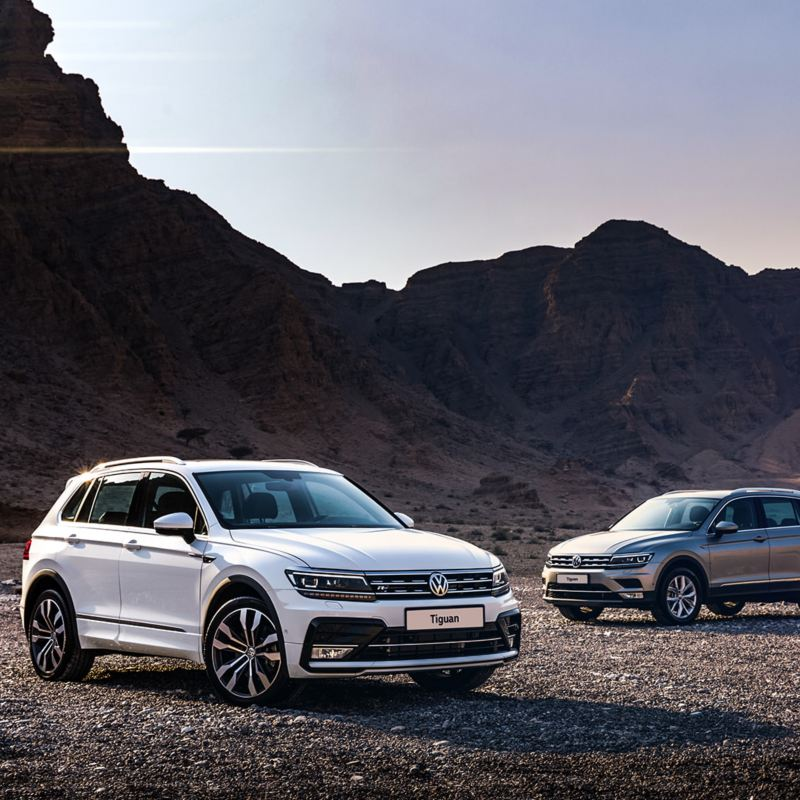 The Volkswagen Tiguan R-Line and classic parked in from of a mountain in the Middle East