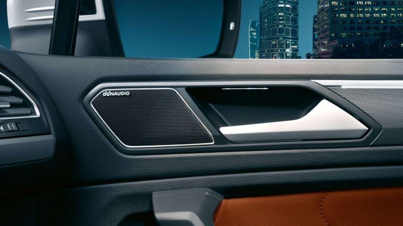 The DYNAUDIO system pillar speaker in the Volkswagen Tiguan