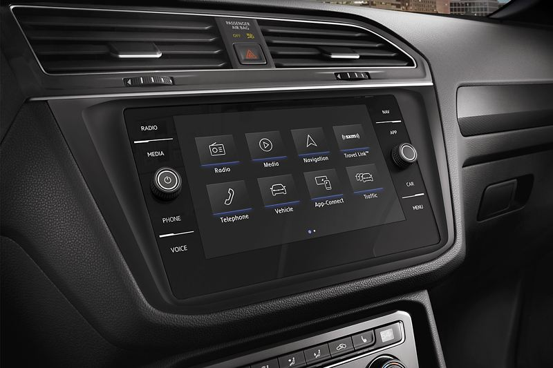 The touch-screen infotainment system in the Volkswagen Touareg