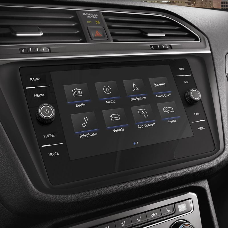 Infotainment touchscreen in the Volkswagen Tiguan