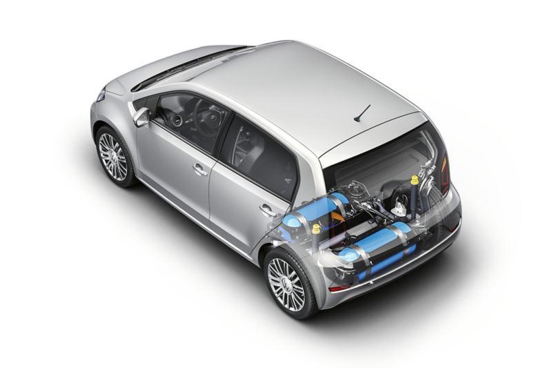 infografica dei componenti del motore e serbatoi del metano zona bagagliaio in Volkswagen eco up!