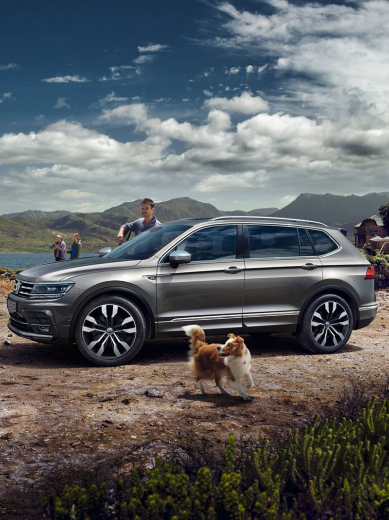 Family on holidays with a VW Tiguan Allspace