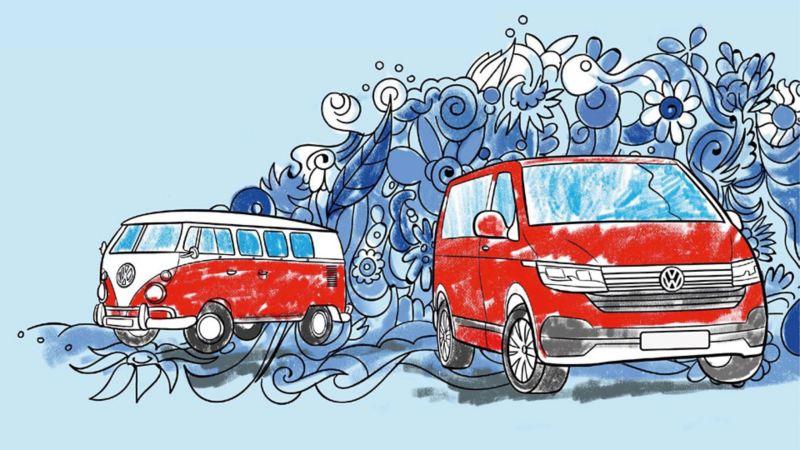Disegno di un California e un Multivan inserito nel libro per bambini da colorare di Veicoli Commerciali Volkswagen.
