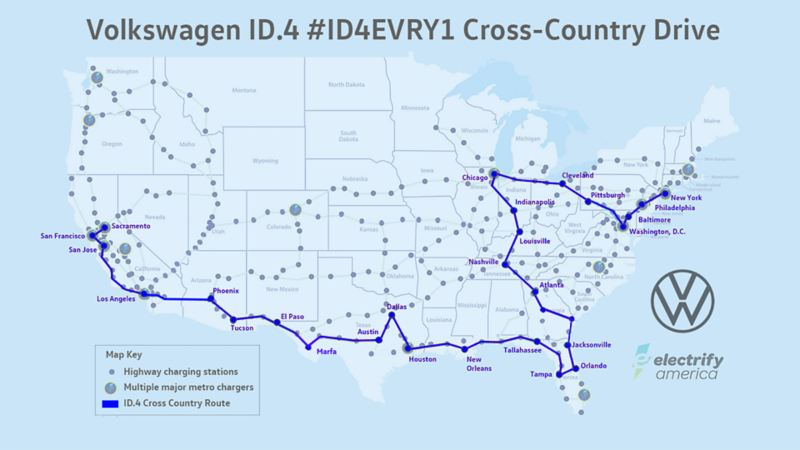 Map of the United States showing the ID.4 cross country drive
