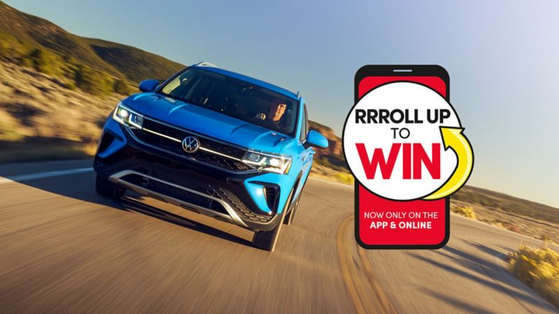 Image of the Taos driving down the road and a Roll Up to Win logo
