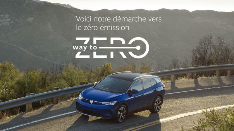 Un ID.4 sur la route avec le logo way to zero