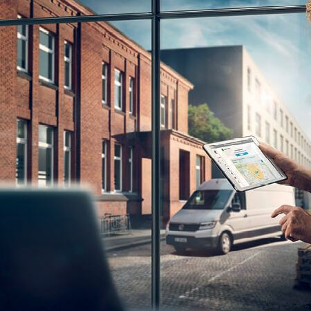 Volkswagen Crafter delivery van outside office block