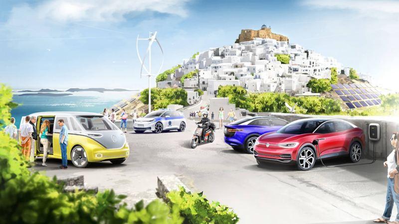 "VW ηλεκτρικά οχήματα στο νησί της Αστυπάλαιας για το project ""Έξυπνο και Αειφόρο νησί"""