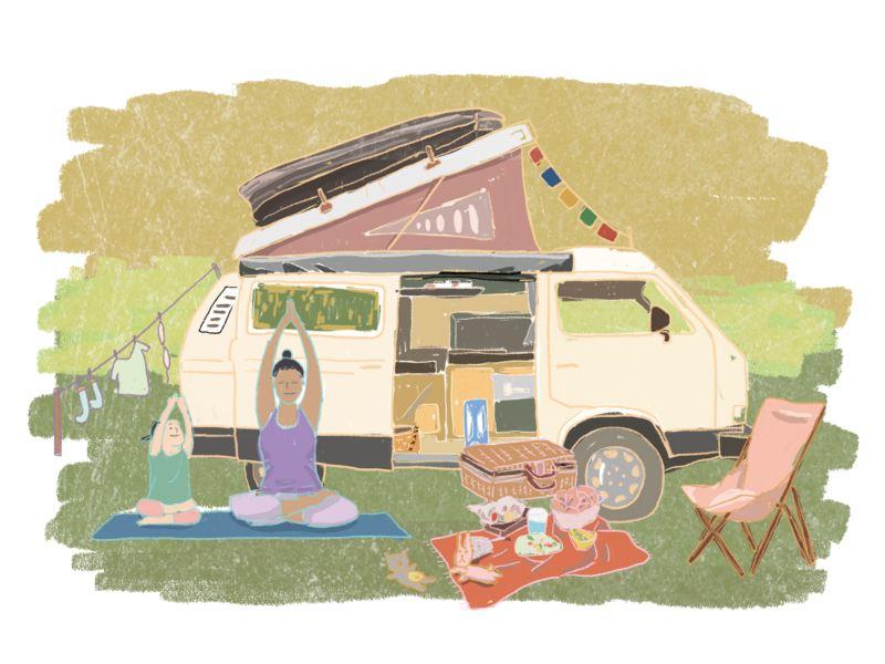 VanLife插畫 - 掀起車頂帳的T2在後,前方有母女坐在戶外瑜珈墊上做伸展動作