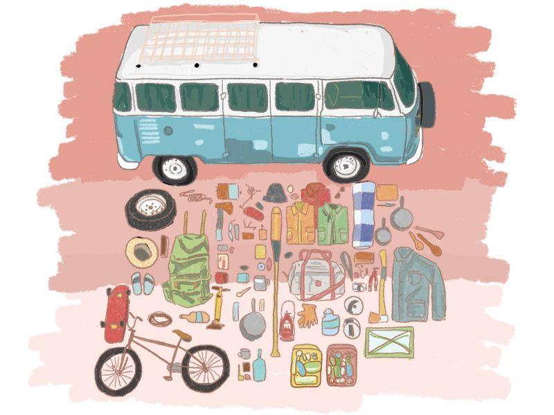 VanLife插畫 - 所有戶外生活的用具攤在藍白雙色T2前方