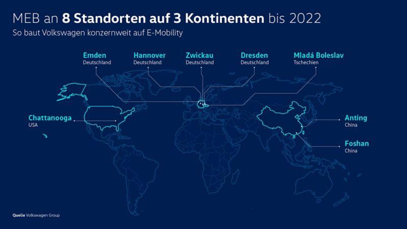 Weltkarte mit MEB produzierenden Volkswagen Standorten