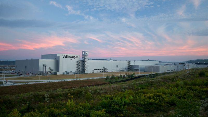 Blick auf das Volkswagen Werk in Tennessee, USA