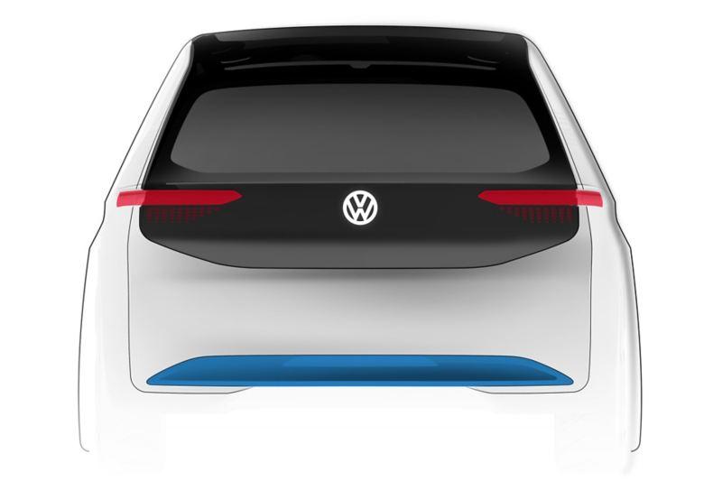 Schizzo del disegno posteriore di Volkswagen ID.3, da Klaus  Zyciora Bischoff.